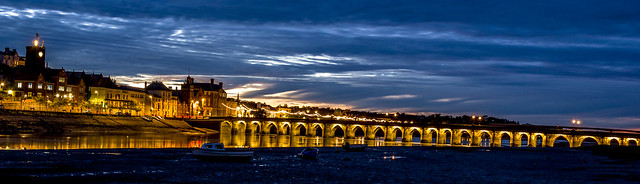 Evening lights over Bideford Bridge