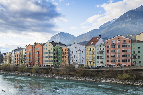 sky landscape city river travel cloudy house architecture colorful architectural houses austria europe innsbruck inn mariahilfstrase