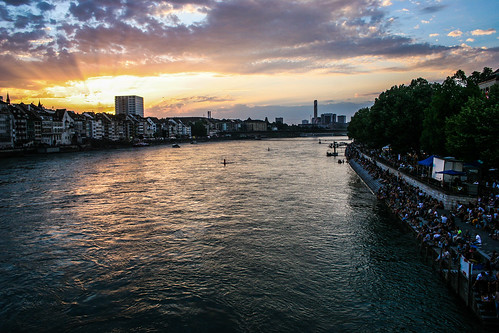 river sunset rhein basel clouds sky colors landscape waterscape crowd shores shadows