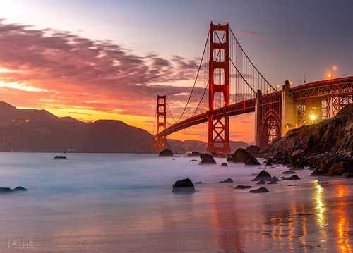 marshallbeach longexposure bridge leefilter lahorstmanphotography sleeklens canon sunset california goldengatebridge sanfrancisco