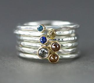 Diamond & Sapphire Stack Rings