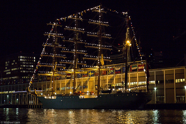 The Peruvian Navy's four-masted barque Union lit up for Sail Boston 2017
