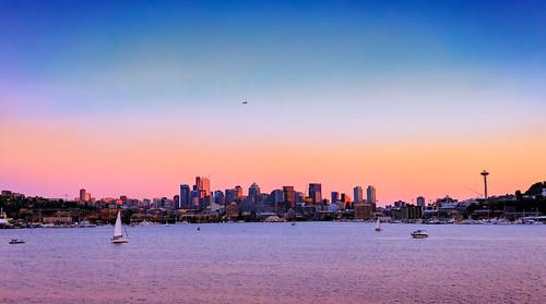 seattle lake lakeunion skyline boats plane sunset hss