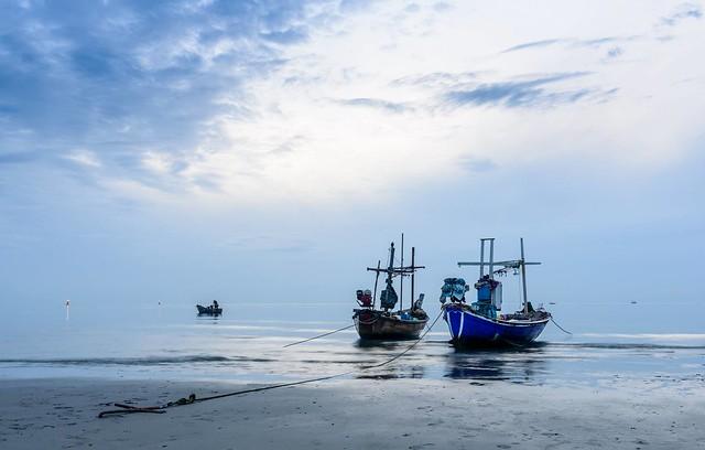 HuaHin beach. The fishermen