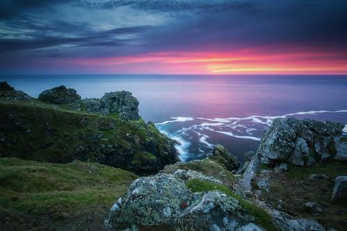 cornwall sunset sea seascape coast colour light cliffs rocks clouds
