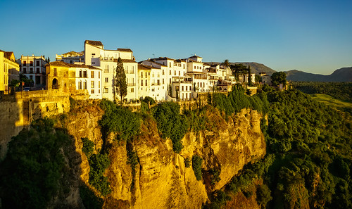 ronda andalucía spain es 2015 architecture balcony cafe landscape light mountain plant rock sunset town tree wall