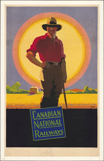 Canadian National Railways. Poster depicting a strong, young farmer /  Chemins de fer nationaux du Canada. Affiche montrant un jeune et robuste fermier