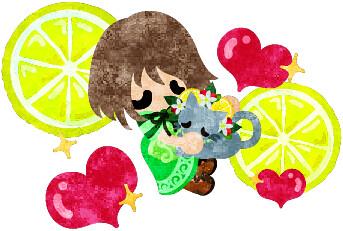 レモンの髪飾りを付けた猫を抱きしめる女の子のイラスト