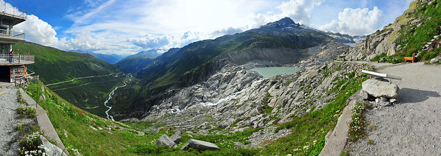 Rhone Glacier Ice Grotto 180° panorama from Belvedere