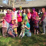 A group photo after the throwing of the colors during Holi!