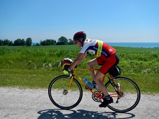 Chris hammering into a headwind on the shores of Lake Michigan.
