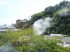 熱川温泉 駅前で熱湯に近い温泉が湧いており、立ちのぼる湯気が車窓からも見える
