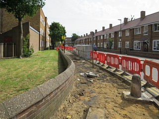 Re-laying the broken pavements in Circular Road