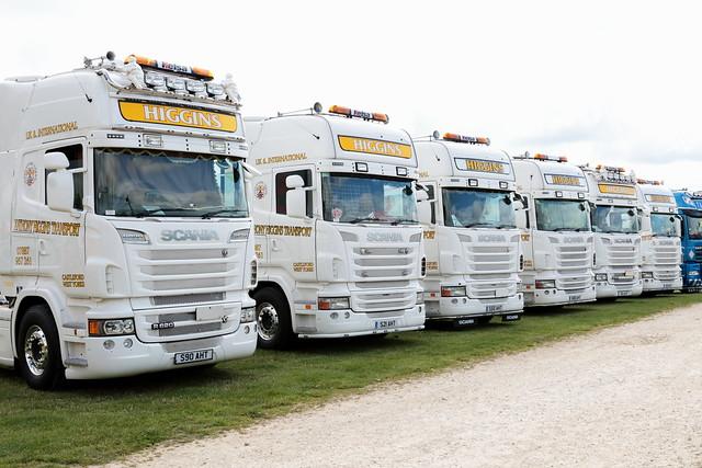 Line-up of Higgins Transport Scania trucks Newark Truckfest 2017