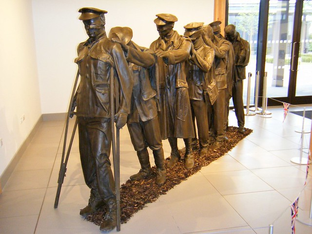 National Arboretum, England - The Blinded Soldiers Monument. - Called Silent Memories = PLEASE SEE MY SIMILAR PHOTO OF THEM AT MANCHESTER PICCADILLY RAILWAY STATION !!!