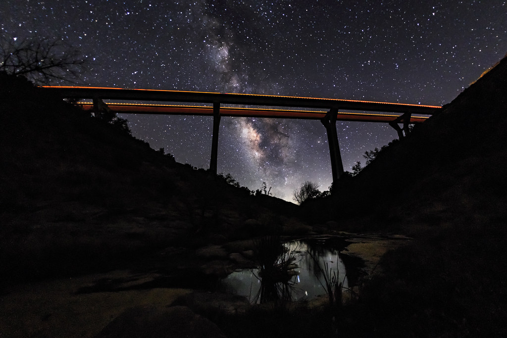 Pine Valley Creek Bridge and the MIlky Way | Orange and ...