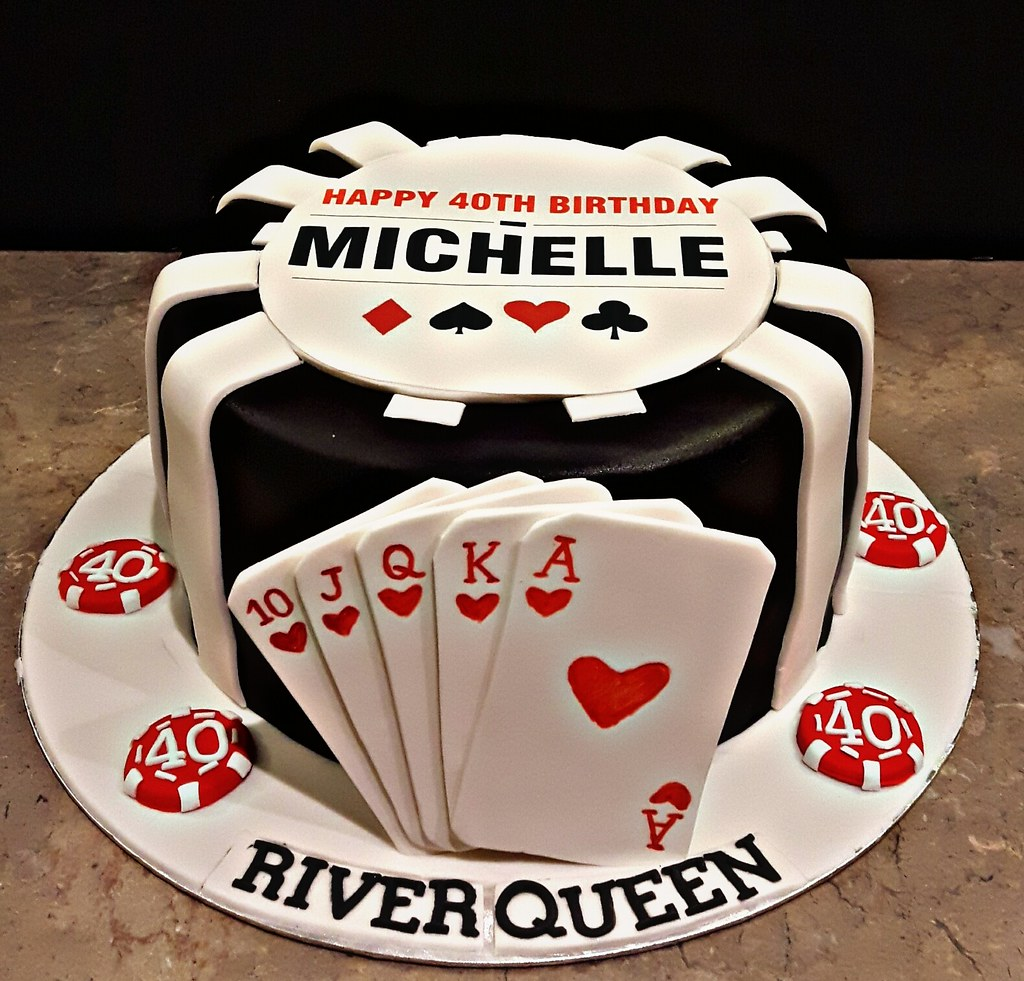 Brilliant Poker Time 40Th Birthday Cake For Michelle Mango Flavor Flickr Funny Birthday Cards Online Unhofree Goldxyz
