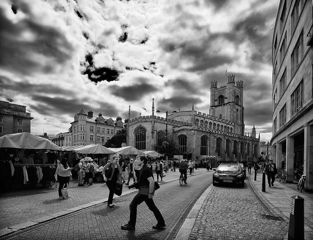 Photographer Crossing . Great St. Marys Church , Market Square , Cambridge