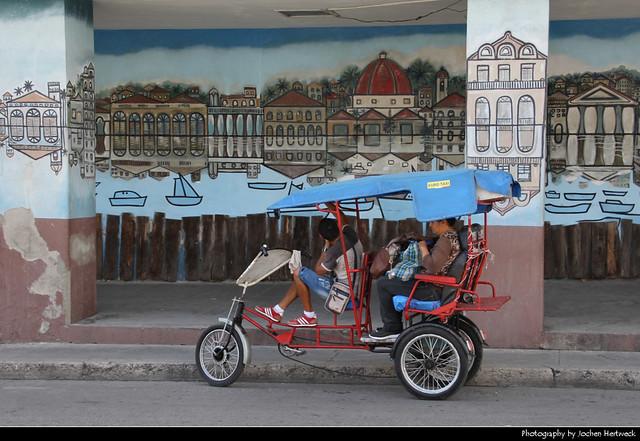 Bicitaxi & Mural, Cienfuegos, Cuba
