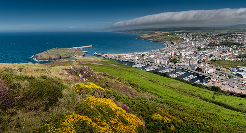 peelcastle peel isleofman panorama harbour port beach summer heather gorse heath peelhill