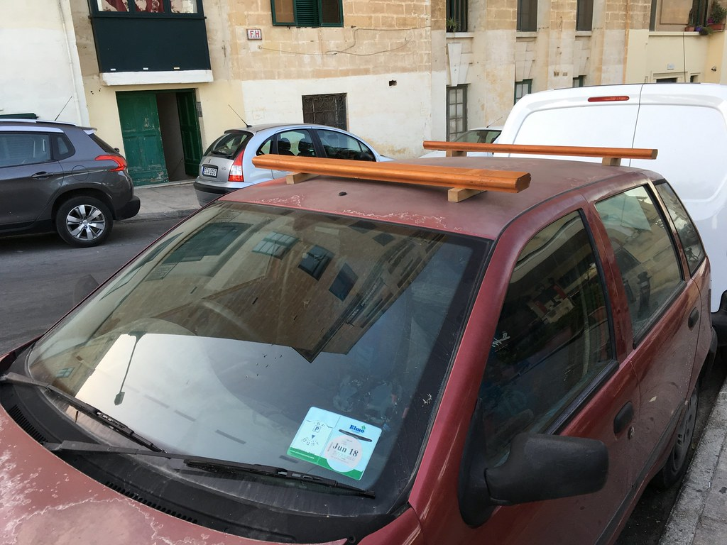 Wooden Roof Rack Certainly Not A Thule Seen In Valletta