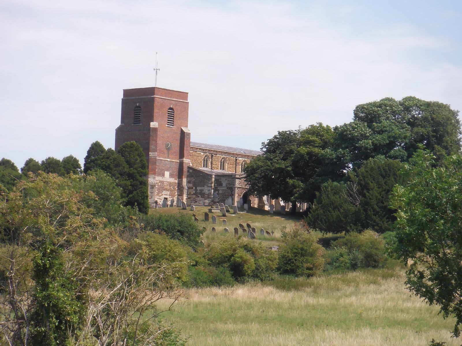 All Saints' Church, Shillington, from footpath SWC Walk 233 - Arlesey to Letchworth Garden City