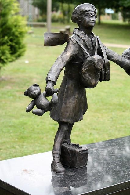 National Arboretum, England - Evacuees - detail of child on memorial