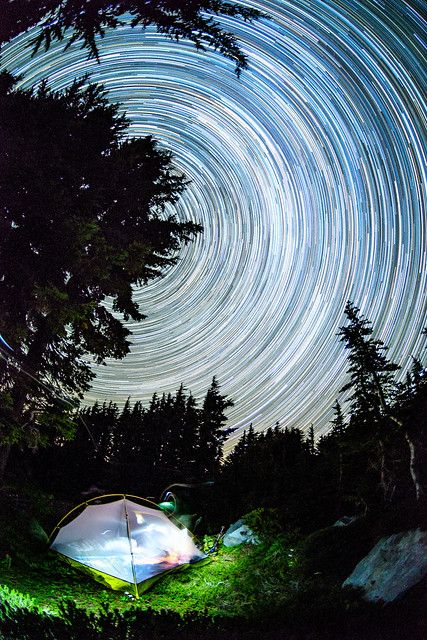 Star trails over campsite, Mt Hood Wilderness, Oregon
