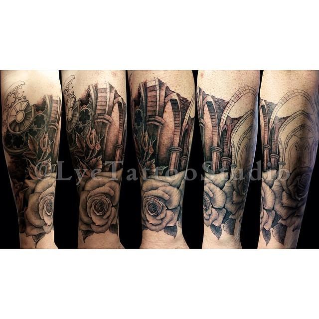 9c2f019b45d00 ... More done on these ruins #Tattoo #Tattoos #TattooArt #Roses  #BlackAndGrey #