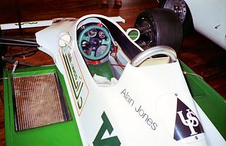 Cockpit of Alan Jones' F1 car, on display at the motor museum, York, Western Australia