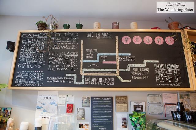 Menu at Cafe Plume