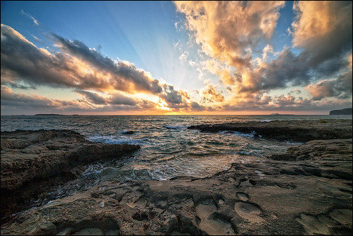 crete falasarna sunset clouds coast landscape evening light beams