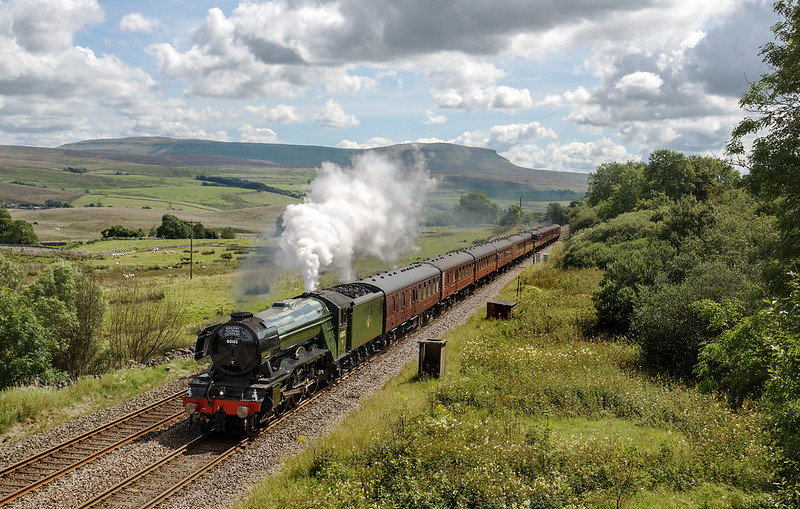With steam to spare, 60103 'Flying Scotsman' at Salt Lake Cottages in Ribblesdale heading the 1Z44 09:45 York to Carlisle 'Waverley' charter on Sunday 13th August 2017.  Copyright Gordon Edgar  - All rights reserved. Please do not use any of these images without my explicit permission