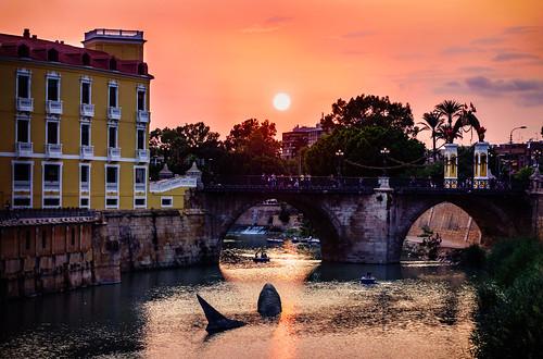 rio river atardecer sunset murcia españa spain fiestas septiembre september feria
