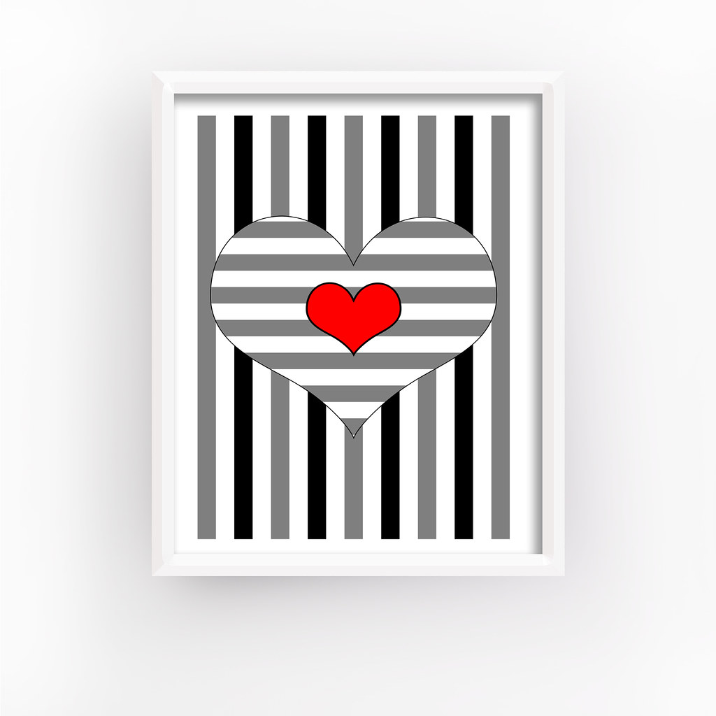 Black Grey and Red Heart Prints