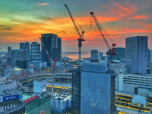 hdr sunrise yokohama japan