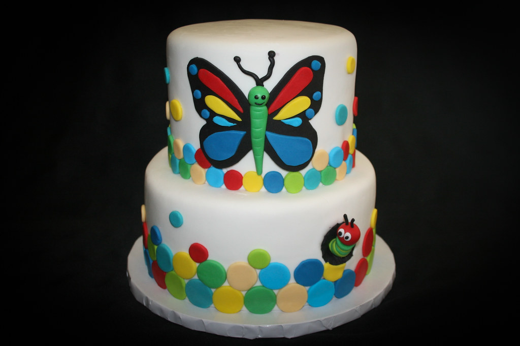 Fine Butterfly Caterpillar 6Th Birthday Cake Aliciascupcakesan Flickr Personalised Birthday Cards Veneteletsinfo