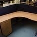 beech L shape desks with 3 drawer pedestal