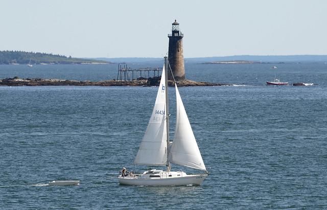 Sailboat at the Portland Headlight in Cape Elizabeth, Maine
