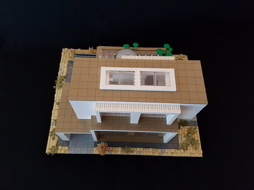 Whitebrick Sand House MOC front exterior and roof from above | by betweenbrickwalls