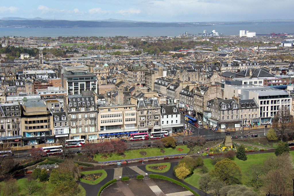 View to Princes Street and New Town from Edinburgh Castle