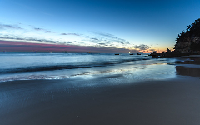 Blue and Pink Daybreak Seascape