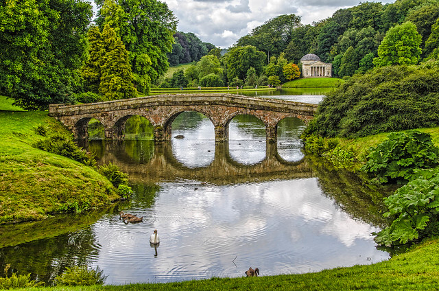 The Palladian Bridge and Pantheon,Stourhead Gardens,Wiltshire.