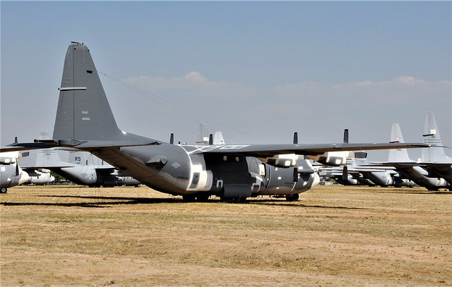 Stripped of all armaments. AC-130H Spectre Gunship 69-6568 ex 16th Special Operations Squadron, USAF. Seen stored at the Hercules storage area with the 309th Aerospace Maintenance and Regeneration Group (AMARG), Tucson, Arizona. 6 June 2016.