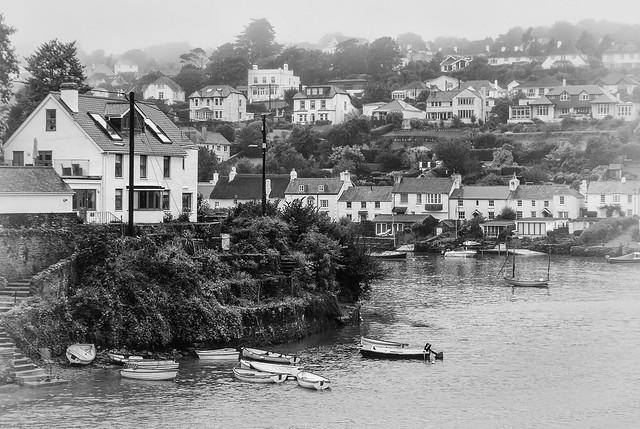 Scenic coastal village - misty view