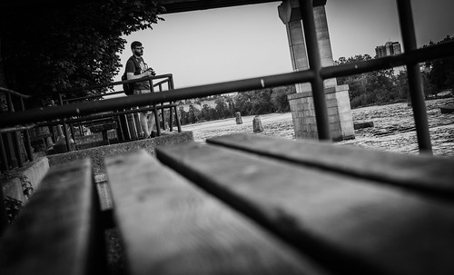 manchester photography streetphotography man photographer bench river bridge monochrome inspiration nikon lines view allyouneedislight
