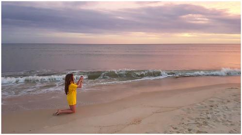 sunset beach ocean gulfofmexico florida stgeorgeisland floridapanhandle granddaughter kneeling candid theotherphotographer