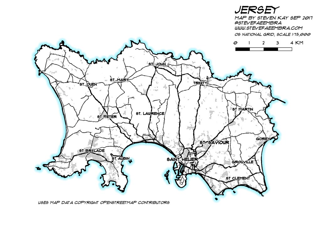QGIS pen and wash effect | map of Jersey, QGIS 2 18 10  Aimi… | Flickr