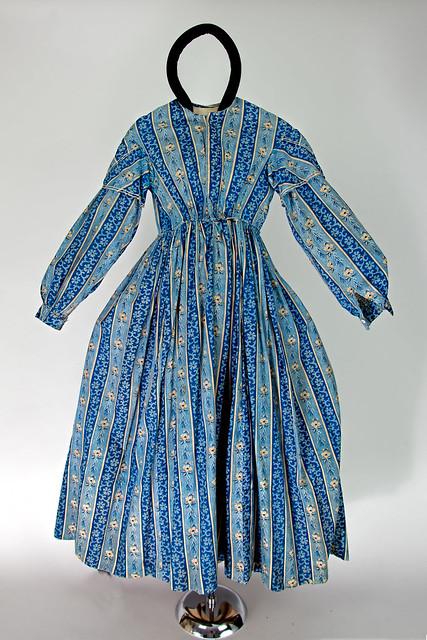 Blue & beige cotton dress