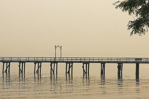 pier minimalist ocean whiterock bc vancouver canada fog smokefromforestfires